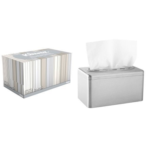 2-Pack Kimberly-Clark's Kleenex Stainless Steel Box Towel Cover With 18-Pack Kleenex 1-Ply Ultra Soft Hand Towel Refill Bundle by Kimberly-Clark Professional (Image #1)