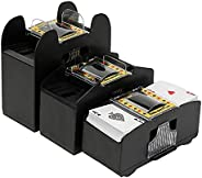GEXIN Automatic Shuffler, Outdoor Poker 2-6 Deck Card Shuffler Household Plastic Silent Shuffler with Battery
