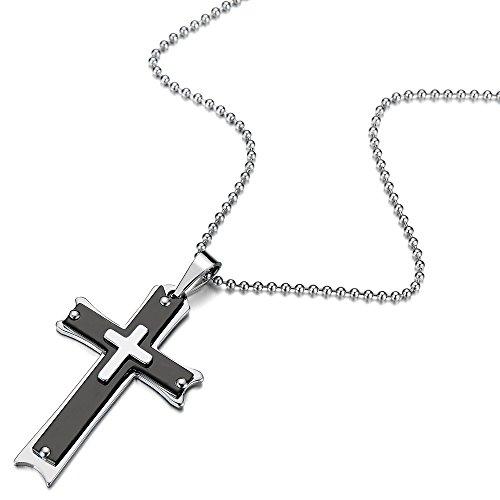 Noir Argent Tricouche Croix Pendentif Collier Homme Acier Inoxydable - 60CM Chaîne de Boule