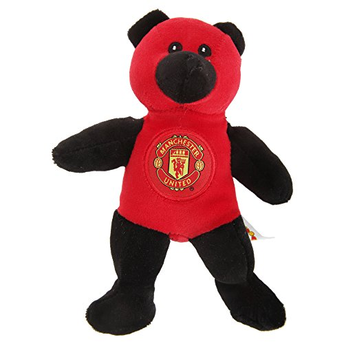 Manchester United FC Official Mini Plush Contrast Football Crest Teddy Bear (8 inches) (Red/Black)