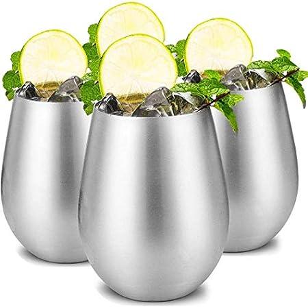 Copas de vino irrompibles de acero inoxidable 18/8 sin tallo, vasos de vino portátiles, para eventos al aire libre, pícnics (4 unidades)