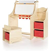 Guidecraft Artist Activity Desk with Storage Stool - Desk Unit, Chair, Paint Cups and Fabric Storage Bins