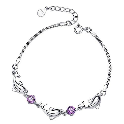 fomoisclU Adjustable Dolphin Links Shiny Rhinestone Lady Jewelry Bracelet Ankle Chain - Purple
