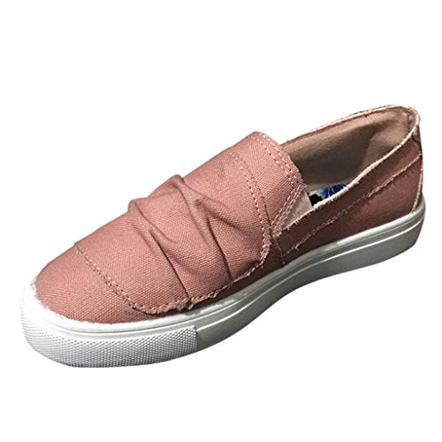 Women's Cowboy Button Canvas Peas Beach Flats Shoes Summer Casual Single Shoe Pink ()