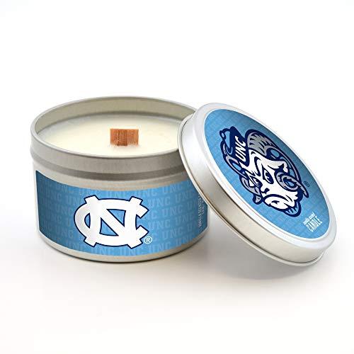 - NCAA North Carolina Tar Heels Travel Tin Candle with Wood Wick, Vanilla Scent, 5.8-Ounce, Gray
