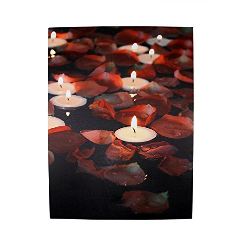 LED Lighted Flickering Garden Party Floating Candles with Rose Petals Canvas Wall Art 15.75