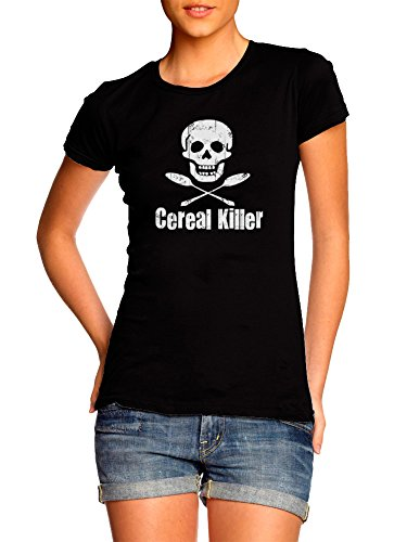 Juniors Cereal Killer Funny Biker Tattoo Skull Humor T-Shirt