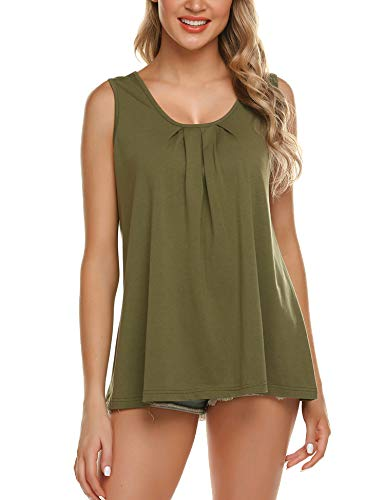Zeagoo Women Solid Sleeveless Tunic for Leggings Swing Flare Tank Tops Army Green XXL