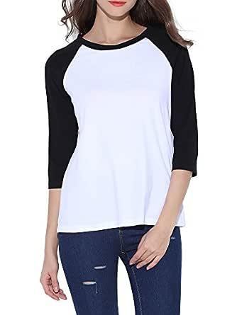 HUHOT Cotton Crew Neck 3/4 Sleeve Jersey Shirt Baseball Tee Raglan T-Shirts Small Black