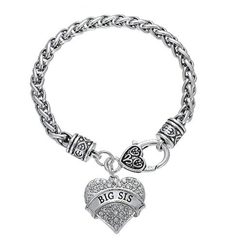 Fusicase Bling Crystal Silver Hearts Metal Family Member Bracelets(Big Sister) -