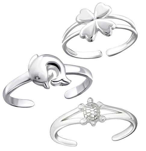 925 Sterling Silver set of 3 Turtle, Clover, Dolphin Toe Ring or Above Knuckle Ring Mid Finger