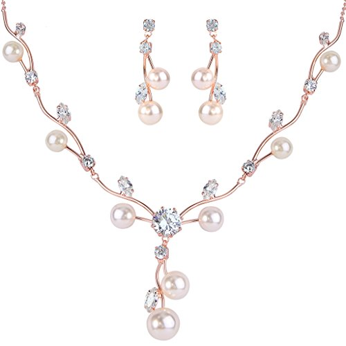 EleQueen Zirconia Simulated Filigree Necklace product image