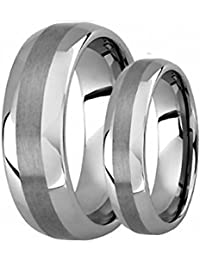 his hers 8mm6mm polished shiny domed with brush center tungsten carbide wedding band ring set - Tungsten Wedding Ring Sets