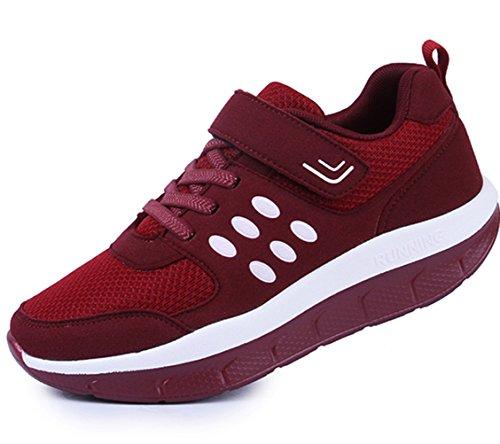 DADAWEN Women's Platform Wedges Tennis Walking Sneakers Comfortable Lightweight Casual Fitness Shoes Wine Red