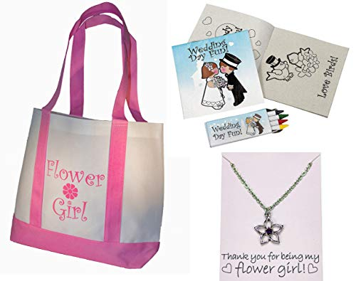 Best Flower Girl Gifts Set: Tote Bag, Metal Flower Girl Necklace, Wedding Day Kids Activity Kits
