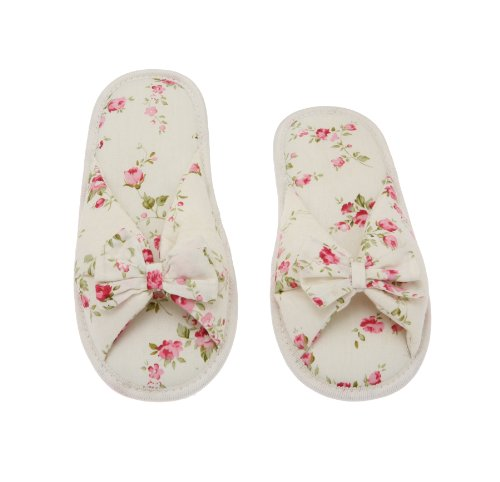 Btfly Tie Deluxe Foot 7 7 8 Cotton 8 7 with Memory Printed Bed Women Comfort Peonies Floral Peo Foam W5 Slipper Butterfly tgw6qHrg