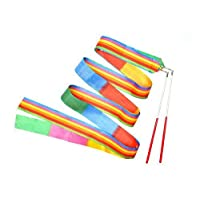 Yolito 4 Pieces Dance Ribbon Wands Rainbow Gymnastics Dancing Streamers with Paint Handle for Kids Art Dances, Baton Twirling