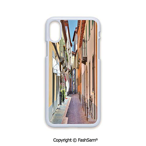 Plastic Rigid Mobile Phone case Compatible with iPhone X Black Edge Town of Alba Piedmont Northern Italy Narrow Stone Paved Street Among Colorful Houses 2D Print Hard Plastic Phone Case