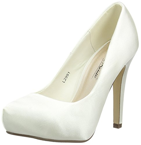 Spot On Satin 'Wedding' - Zapatos de vestir de satén para mujer Blanco (Off White (Ivory))