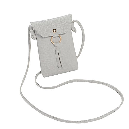 Phone PU Leather Crossbody Mini Bag Grey Black Universal Light Bag Phone Pouch Coin DHOUTDOORS Wallet Shoulder Women Cell With Strap xBqffPC