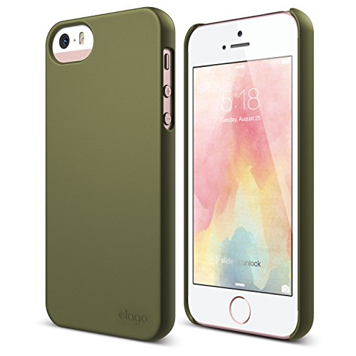 True Fit Camo (iPhone SE case, elago [Slim Fit 2][Soft Feel Camo Green] - [Light][Minimalistic][True Fit] - for iPhone SE/5/5S)