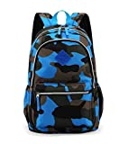 Fashion Boys and Girls School Backpack Camouflage Travel Sports Shoulder Bag (Blue)