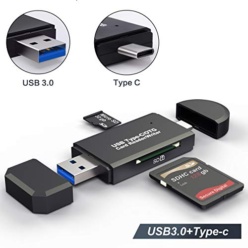 SD Card Reader, USB 3.0 Type C SD Card Reader OTG Adapter for SDXC, SDHC, SD, MMC, RS- MMC, Micro SDXC, Micro SD, Micro SDHC Card and UHS-I Cards.