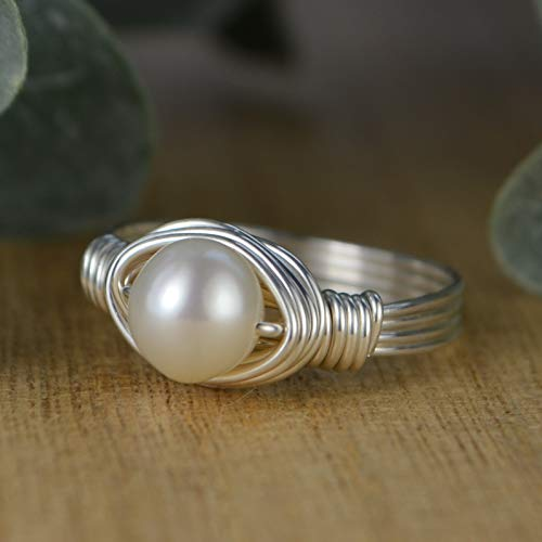 (White Freshwater Pearl Sterling Silver or Gold Filled Wire Wrapped Ring- Custom Made to Your Size 4-14)