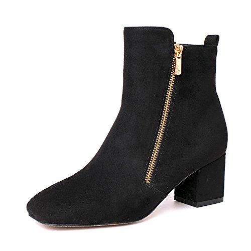KHSKX-Invierno Coreano Matte Retro Square Grueso Con Zapatos De Tacón Botas Botas De Mujer Botas Botas De Tobillo Botas Con Cremallera Martin Desnudo black