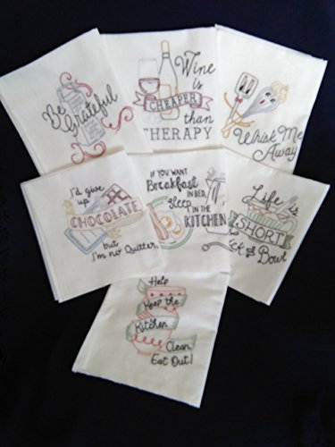 Funny Sayings in the Kitchen Hand Embroidered T-towel set 7 - Pitcher Glass Quilt