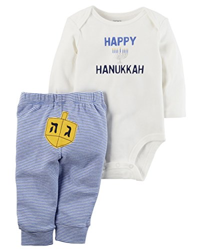 Carter's Baby 2 Piece Long Sleeve Hanukkah Bodysuit and Pants Set Blue 9 Months