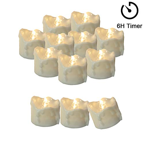 12 Tea Lights Led Flickering with Timer (6 hours on, 18 hours off), Mini Flameless Candles Tea Lights Battery Operated Flickering Warm White for Wedding Party Thanksgiving Christmas Decorations
