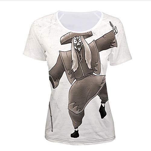 Women's T-Shirt,Style Artist with Makeup and Costume Pose Dance,Pictures -