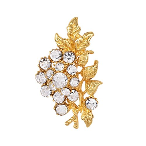 - Botrong Pearl Pin Rhinestone Brooch Scarf Clip Clothing Crystal Pin Flower Brooch (Gold)