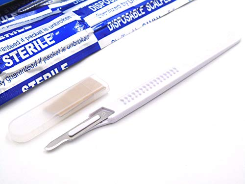 Disposable Scalpels High-Carbon Steel Blades, Plastic Graduated Handle, Sterile, Individually Foil Wrapped, Box of 10 (Disposable Scalpel #15)