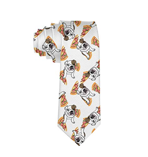 Used, JZDACH Cute English Bulldog Pizza Ties for Men Tie for sale  Delivered anywhere in USA
