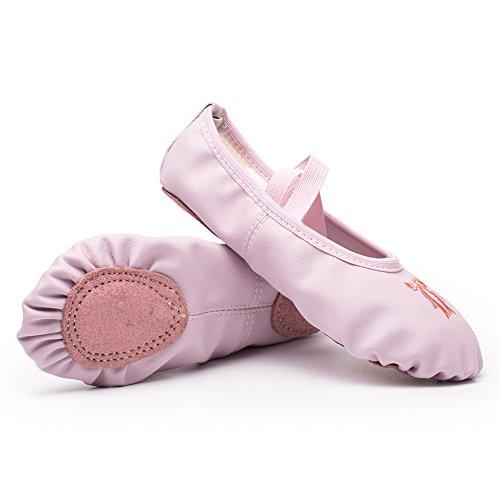 CIOR Girls Leather Ballet Shoes Flats Slipper for Dance Split Sole(Toddler/Little Kid/Big Kid/Women)