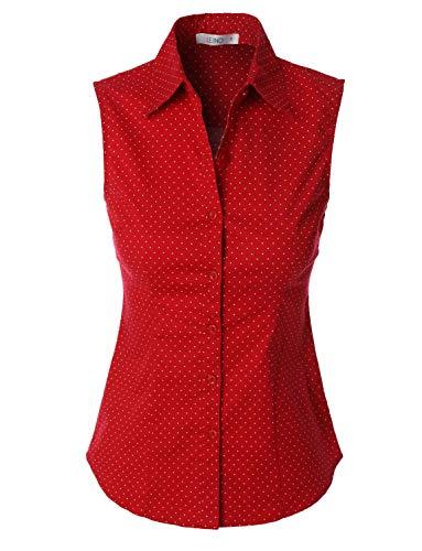 LE3NO Womens Lightweight Polka Dots Sleeveless Button Down - Collar Cotton Sleeveless