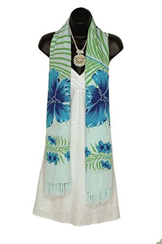 1WS Womens Hawaiian Floral Motif Extra Wide Neck Scarf in Blue (Hawaiian Motif)