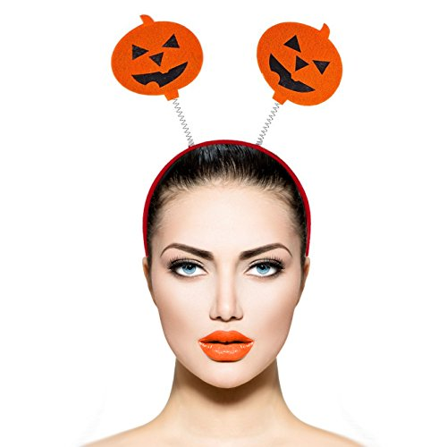Lux Accessories Red Headband Antenna Halloween Pumpkin Jack O Lantern Headband (Halloween Pumpkins)