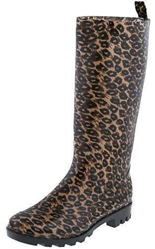 (Capelli New York Ladies Shiny Leopard Print Tall Rain Boot Natural Combo 8)