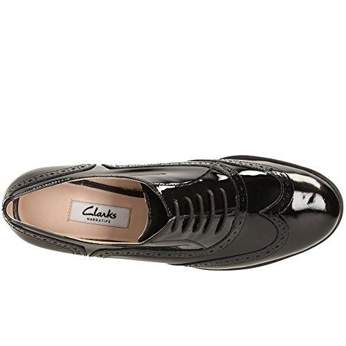 CLARKS Womens Shoe Hamble Oak Black Patent 4.0 C uNozvr5d