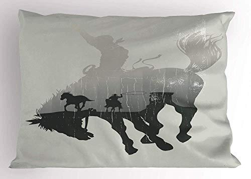 K0k2t0 Western Pillow Sham, Western Theme Cowboy Chasing Wild Horse in The Desert Rodeo Cowboy Theme, Decorative Standard Queen Size Printed Pillowcase, 30 X 20 Inches, Light Grey Dark Green
