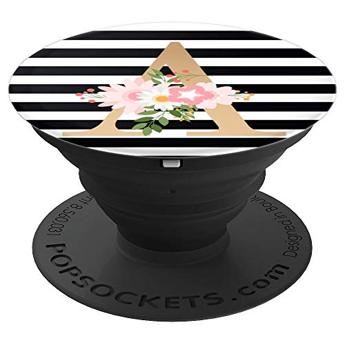 Initial Letter A Alphabet Black and White Stripe Gold Flower - PopSockets Grip and Stand for Phones and Tablets