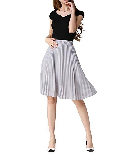 WEHOPS Women's Chiffon Pleated Skirt Knee-Length A-line Casual Wear Office Skirt Grey
