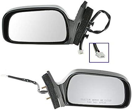 Power Side View Mirrors Black Left /& Right Pair Set for 01-05 Civic 4 Door Sedan