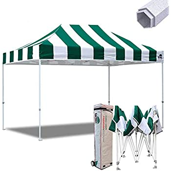 Eurmax 10x15 Ft Premium Ez Pop up Canopy Instant Shelter Outdoor Party Gazebo Commercial Grade Bonus Roller Bag (Stripe Green White)