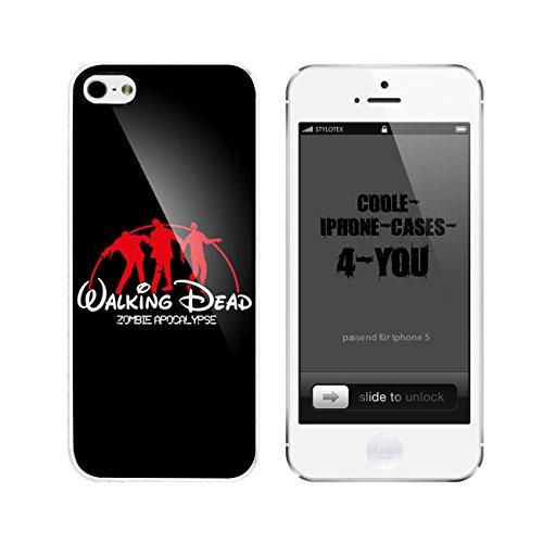 Iphone 5 / 5S Schutzhülle Walking Dead Zombie Apocalypse - weisser Rahmen
