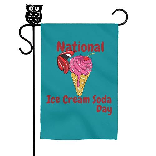 BoDu National Ice Cream Soda Day Garden Flag Yard Home Flag 18 X 12.5 Inch from BoDu