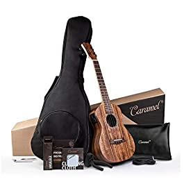 Caramel 26 inch CT204 All Solid Acacia Wood Tenor Electric Ukulele Professional Ukelele Kit Beginner Guitar Starter…